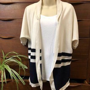 Escada Striped Cashmere Silk Blend Cardigan